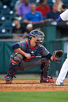 Lehigh Valley IronPigs catcher Logan Moore (11) during a game against the Buffalo Bisons on August 29, 2016 at Coca-Cola Field in Buffalo, New York.  Buffalo defeated Lehigh Valley 3-2.  (Mike Janes/Four Seam Images)