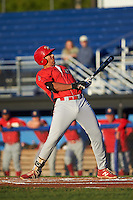 Williamsport Crosscutters first baseman Darick Hall (46) ducks out of the way of an inside pitch during a game against the Batavia Muckdogs on September 1, 2016 at Dwyer Stadium in Batavia, New York.  Williamsport defeated Batavia 10-3. (Mike Janes/Four Seam Images)