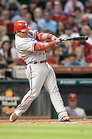 Philadelphia Phillies catcher Carlos Ruiz #51 swings during the Major League Baseball game against the Houston Astros at Minute Maid Park in Houston, Texas on September 12, 2011. Houston defeated Philadelphia 5-1.  (Andrew Woolley/Four Seam Images)