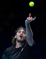 15th November 2020, O2, London, England;  StefanTsitsipas of Greece serves during the singles group match against Dominic Thiem of Austria at the ATP, Tennis Mens World Tour Finals 2020 in London