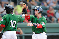 Catcher Jordan Procyshen (29) of the Greenville Drive is congratulated by Franklin Guzman (10) after scoring a run in a game against the Savannah Sand Gnats on Sunday, August 24, 2014, at Fluor Field at the West End in Greenville, South Carolina. Greenville won, 8-5. (Tom Priddy/Four Seam Images)