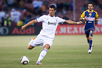 Cristiano Ronaldo kicks the ball. Real Madrid defeated Club America 3-2 at Candlestick Park in San Francisco, California on August 4th, 2010.