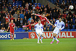 UEFA European Championship at Cardiff City Stadium - Wales v Cyprus : <br /> Gareth Bale of Wales shot on goal is deflected of the Cyprus defence in the second half.