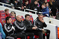 Barclays Premier League, West Ham V Swansea, 02/02/2013<br /> Pictured: (L-R) Adrian Tucker, Michael Laudrup, Alan Curtis..<br /> Picture by: Ben Wyeth / Athena