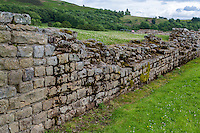 Northumberland,  England, UK.  Vindolanda Roman Fort, Wall Construction.