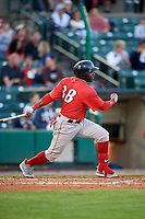 Pawtucket Red Sox center fielder Rusney Castillo (38) follows through on a swing during a game against the Rochester Red Wings on May 19, 2018 at Frontier Field in Rochester, New York.  Rochester defeated Pawtucket 2-1.  (Mike Janes/Four Seam Images)