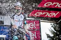 Simon Yates (GBR/Bike Exchange) celebrates his win up the Alpe di Mera (1560m)<br /> <br /> 104th Giro d'Italia 2021 (2.UWT)<br /> Stage 19 from Abbiategrasso to Alpe di Mera (Valsesia)(176km)<br /> <br /> ©kramon