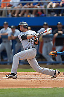 Bruce Steel (17) of the Wake Forest Demon Deacons follows through on his swing against the Florida Gators in Game One of the Gainesville Super Regional of the 2017 College World Series at Alfred McKethan Stadium at Perry Field on June 10, 2017 in Gainesville, Florida. The Gators defeated the Demon Deacons 2-1 in 11 innings. (Brian Westerholt/Four Seam Images)