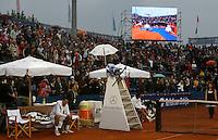 Tenis, Serbia Open 2011.Final.Novak Djokovic (SRB) Vs. Feliciano Lopez (ESP).Goran Djokovic and Feliciano Lopez, during ceremony.Beograd, 01.05.2011..foto: Srdjan Stevanovic