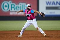 Pescados de Carolina third baseman Alex Binelas (2) makes a throw to first base against the Delmarva Shorebirds at Five County Stadium on September 4, 2021 in Zebulon, North Carolina. (Brian Westerholt/Four Seam Images)