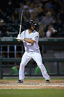 Seby Zavala (5) of the Charlotte Knights at bat against the Gwinnett Braves at BB&T BallPark on July 12, 2019 in Charlotte, North Carolina. The Stripers defeated the Knights 9-3. (Brian Westerholt/Four Seam Images)