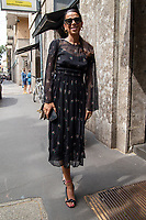 Milan,Italy - 19th june 2021 - Dolce & Gabbana fashion show for Milano fashion week Men's collection 18-22 june 2021 - girl with a black dress posing before the show