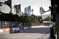 4th June 2021; Baku, Azerbaijan; Free practise sessions;  44 HAMILTON Lewis gbr, Mercedes AMG F1 GP W12 E Performance chequered flag  during the Formula 1 Azerbaijan Grand Prix 2021 at the Baku City Circuit, in Baku, Azerbaijan