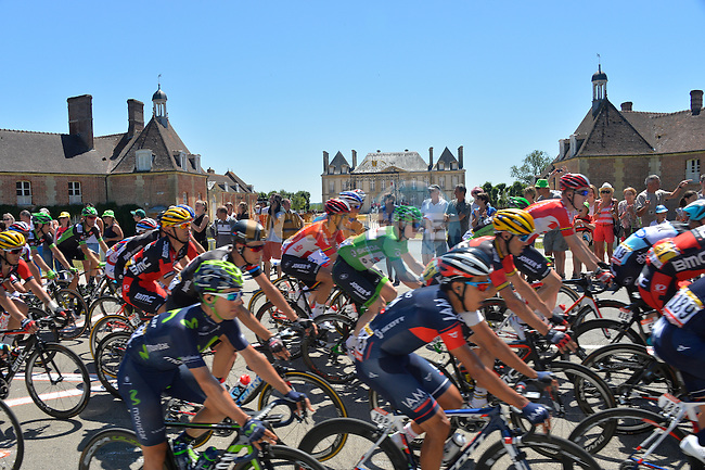 The peloton pass through Le Pin-au-Haras during Stage 7 of the 2015 Tour de France running 190.5km from Livarot to Fougeres, France. 10th July 2015.<br /> Photo: ASO/B.Bade/Newsfile