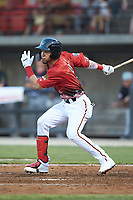 Leody Taveras (3) of the Down East Wood Ducks at bat during the 2018 Carolina League All-Star Classic at Five County Stadium on June 19, 2018 in Zebulon, North Carolina. The South All-Stars defeated the North All-Stars 7-6.  (Brian Westerholt/Four Seam Images)