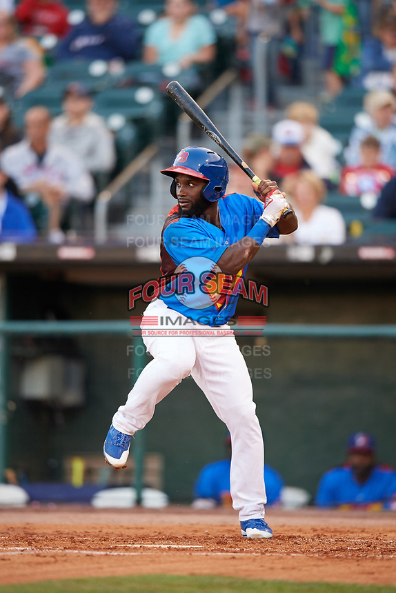 Buffalo Bisons center fielder Roemon Fields (37) at bat during a game against the Gwinnett Braves on August 19, 2017 at Coca-Cola Field in Buffalo, New York.  The Bisons wore special Superhero jerseys for Superhero Night.  Gwinnett defeated Buffalo 1-0.  (Mike Janes/Four Seam Images)