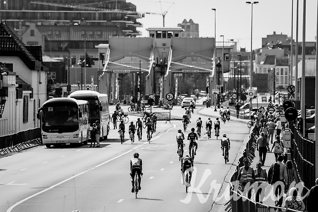 peloton 'strolling around' the Antwerp Harbour during the wait before the neutralised start<br /> <br /> 92nd Schaal Sels 2017 <br /> 1 Day Race: Merksem > Merksem (188km)