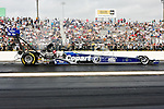 Brandon Bernstein (7) drive for the Copart Top Fuel Dragster team makes a run at the O'Reilly Auto Parts Spring Nationals Finals at the Royal Purple Raceway in Baytown,Texas.