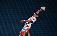 25 September 2020; Kieran Treadwell of Ulster A wins possession in the lineout during the A Interprovincial Friendly match between Leinster A and Ulster A at the RDS Arena in Dublin. Photo by Ramsey Cardy/Sportsfile/Dicksndigital