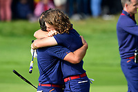30th September 2018, National Golf Centre, Guyancourt, Yvelines department in the Île-de-France,  north-central France; 42nd Ryder Cup tournament, Europe versus USA;  Francesco Molinari of Italy (Team Europe) <br /> Tommy Fleetwood of England (Team Europ)