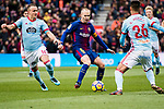 Andres Iniesta of FC Barcelona (C) competes for the ball with Stanislav Lobotka of RC Celta de Vigo (L) during the La Liga 2017-18 match between FC Barcelona and RC Celta de Vigo at Camp Nou Stadium on 02 December 2017 in Barcelona, Spain. Photo by Vicens Gimenez / Power Sport Images