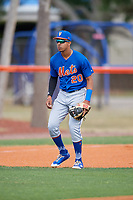 New York Mets Mark Vientos (20) during a Minor League Spring Training intrasquad game on March 29, 2018 at the First Data Field Complex in St. Lucie, Florida.  (Mike Janes/Four Seam Images)