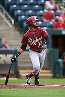 Frisco RoughRiders outfielder Nomar Mazara (12) at bat during a game against the Springfield Cardinals on June 3, 2015 at Hammons Field in Springfield, Missouri.  Springfield defeated Frisco 7-2.  (Mike Janes/Four Seam Images)