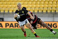 Jack Debregzeni of Canterbury is tackled during the Bunnings NPC - Wellington v Canterbury at Sky Stadium, Wellington, New Zealand on Friday 8 October 2021.<br /> Photo by Masanori Udagawa. <br /> www.photowellington.photoshelter.comto