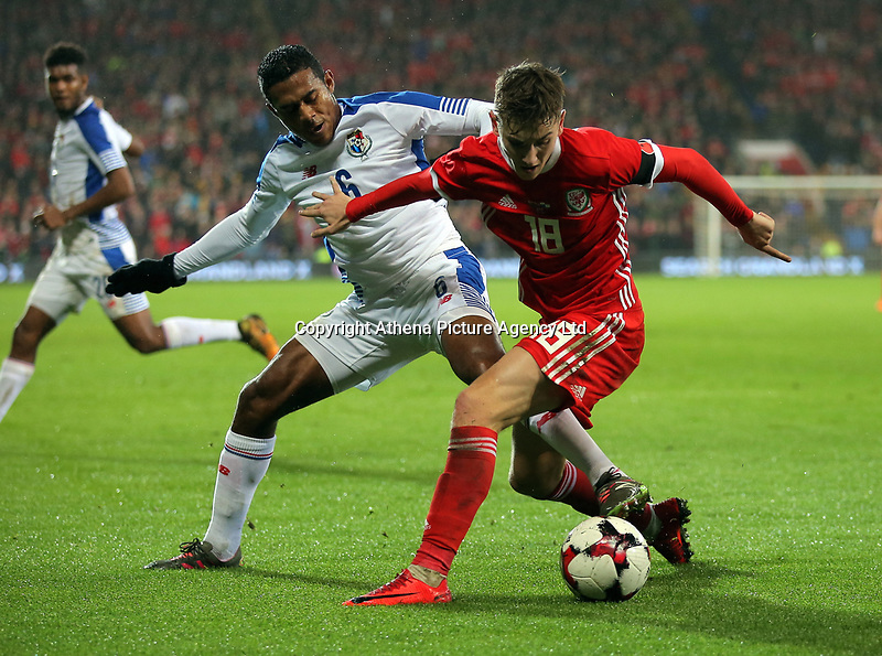 David Brooks of Wales (R) challenged by Manuel Vargas of Panama during the international friendly soccer match between Wales and Panama at Cardiff City Stadium, Cardiff, Wales, UK. Tuesday 14 November 2017.