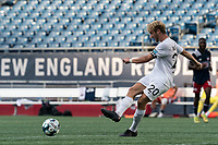 FOXBOROUGH, MA - JULY 25: USL League One (United Soccer League) match. Devin Boyce #20 of Union Omaha passes the ball during a game between Union Omaha and New England Revolution II at Gillette Stadium on July 25, 2020 in Foxborough, Massachusetts.