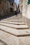 Stone steps, Italian Hill Towns, Marciana, Northwest Coast Elba, Elba; Province of Livorno; Italy, Mediterranean Sea;