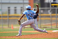 Tampa Bay Rays pitcher Joel Peguero (54) during a Minor League Spring Training game against the Atlanta Braves on April 25, 2021 at Charlotte Sports Park in Port Charlotte, Fla.  (Mike Janes/Four Seam Images)