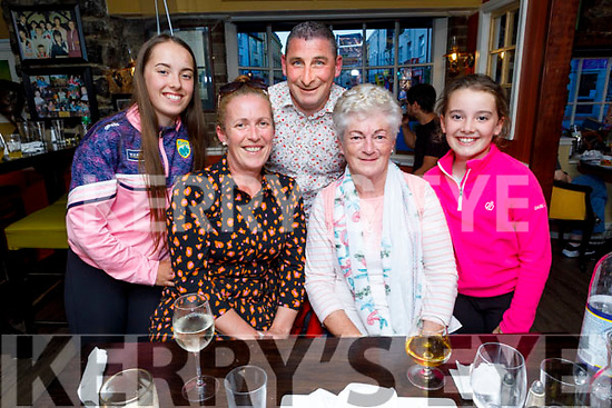 Enjoying the evening in the Brogue Inn. Front:  Sharon and Poppy Cregan. Back l to r: Lily Collins, Paidi O'Shea and Erin Collins.