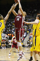 23 February 2008: Stanford Cardinal Kayla Pedersen during Stanford's 60-58 win against the California Golden Bears at Haas Pavilion in Berkeley, CA.