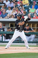 Micah Johnson (3) of the Charlotte Knights at bat against the Columbus Clippers at BB&T BallPark on May 27, 2015 in Charlotte, North Carolina.  The Clippers defeated the Knights 9-3.  (Brian Westerholt/Four Seam Images)