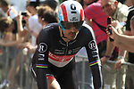 Fabian Cancellara (SUI) Radioshack-Nissan warms up before the Prologue of the 99th edition of the Tour de France 2012, a 6.4km individual time trial starting in Parc d'Avroy, Liege, Belgium. 30th June 2012.<br /> (Photo by Eoin Clarke/NEWSFILE)