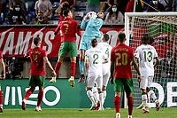 1st September 2021; Faro, Algarve, Portugal:  Portugals forward Cristiano Ronaldo challenges Irelands goalkeeper Gavin Bazunu during the FIFA World Cup,  2022 European qualifying round group A football match in Faro, Portugal