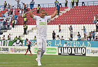 MONTERIA - COLOMBIA, 30-03-2019: Jose H Escobar arquero de Jaguares celebra el primer gol de su equipo anotado por Delio Ojeda durante el partido por la fecha 12 de la Liga Águila I 2019 entre Jaguares de Córdoba F.C. y Atlético Junior jugado en el estadio Jaraguay de la ciudad de Montería. / Jose H Escobar of Jaguares de Cordoba F.C. celebrates the first goal of his team scored by Delio Ojeda during match for the date 12 as part Aguila League I 2019 between Jaguares de Cordoba F.C. and Atletico Junior played at Jaraguay stadium in Monteria city city. Photo: VizzorImage / Andres Felipe Lopez / Cont