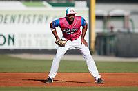 Pescados de Carolina first baseman Ernesto Martinez (46) on defense against the Delmarva Shorebirds at Five County Stadium on September 4, 2021 in Zebulon, North Carolina. (Brian Westerholt/Four Seam Images)