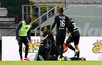 MANIZALES - COLOMBIA, 25-01-2021: Jugadores de Junior celebran el segundo gol anotado por Freddy Hinestroza durante partido por la fecha 2 de la Liga BetPlay DIMAYOR I 2021 entre Once Caldas y Atlético Junior jugado en el estadio Palogrande de la ciudad de Manizalez. / Players of Junior celebrate the second goal scored by Freddy Hinestroza during match for the date 2 as part of BetPlay DIMAYOR League I 2021 between Once Caldas and Atletico Junior played at the Palogrande stadium in Manizales city. Photo: VizzorImage / John Jairo Bonilla / Cont
