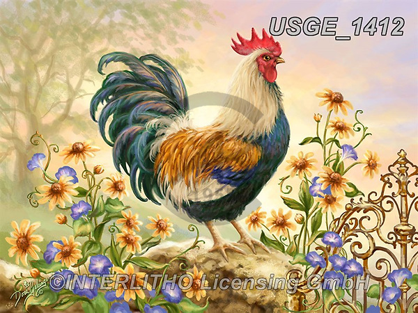 Dona Gelsinger, STILL LIFE STILLEBEN, NATURALEZA MORTA, paintings+++++,USGE1412,#i#, EVERYDAY,cock,rooster