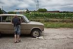 UKRAINE, Chermalyk: inhabitant of the village of Chermalyk, 45 km from Mariupol. This village face shootout between Ukrainian forces and separatist since a year. <br /> <br /> UKRAINE, Chermalyk: habitants du village de Chermalyk, à 45 km de Mariupol. Ce village subit des échanges de tirs entre les forces ukrainiennes et séparatiste depuis un an.