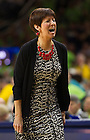 Mar. 31, 2014; Head coach Muffet McGraw reacts during the second half against the Baylor Bears in the finals of the Notre Dame regional in the 2014 NCAA Tournament at the Purcell Pavilion. Notre Dame won 88-69. Photo by Barbara Johnston/University of Notre Dame