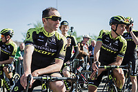 Michael Albasini (SUI/Mitchelton Scott) and Roman Kreuziger (CZE/Mitchelton Scott) awaiting the pre race team presentation. <br /> <br /> 82nd La Flèche Wallonne 2018<br /> 1 Day Race: Seraing - Huy (198,5km)