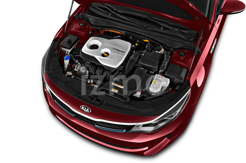 Car stock 2017 KIA Optima Plug-In Hybrid Fusion 4 Door Sedan engine high angle detail view
