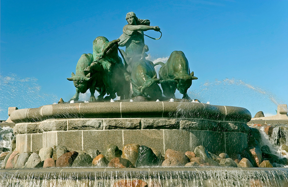 vintage tiny print of the gefion fountain in denmark
