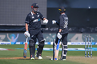 NZ's Daryl Mitchell (left) and Devon Conway during the third One Day International cricket match between the New Zealand Black Caps and Bangladesh at the Basin reserve in Wellington, New Zealand on Friday, 26 March 2021. Photo: Dave Lintott / lintottphoto.co.nz