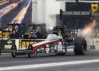 Feb 10, 2017; Pomona, CA, USA; NHRA top fuel driver Scott Palmer during qualifying for the Winternationals at Auto Club Raceway at Pomona. Mandatory Credit: Mark J. Rebilas-USA TODAY Sports