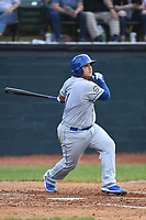 Burlington Royals Jesus Atencio (31) bats during a game with the Bristol Pirates at Boyce Cox Field on June 19, 2019 in Bristol, Virginia. The Royals defeated the Pirates 1-0. (Tracy Proffitt/Four Seam Images)