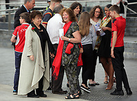 """Pictured: Julie Morgan (C) thanks those attending after the service. Wednesday 31 May 2017<br />Re: The funeral for former first minister Rhodri Morgan has taken place in the Senedd in Cardiff Bay.<br />The ceremony, which was open to the public, was conducted by humanist celebrant Lorraine Barrett.<br />She said the event was """"a celebration of his life through words, poetry and music"""".<br />Mr Morgan, who died earlier in May aged 77, served as the Welsh Assembly's first minister from 2000 to 2009.<br />He was credited with bringing stability to the fledgling assembly during his years in charge.<br />It is understood Mr Morgan had been out cycling near his home when he died."""